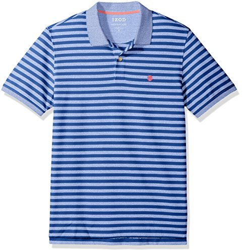IZOD Men's Advantage Performance Stripe Polo, True Blue, (Rugby Stripe Mens Polo Shirt)