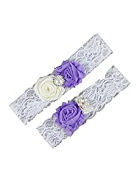 Bridess Floral Lace White Wedding Bridal Garters with Toss Away