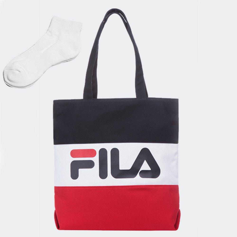 [FILA]フィラ BLOCKING ECO BAG カラー ブロッキングエコバッグ トートバッグ カバン [並行輸入品] B07DCLPTGD レッド レッド