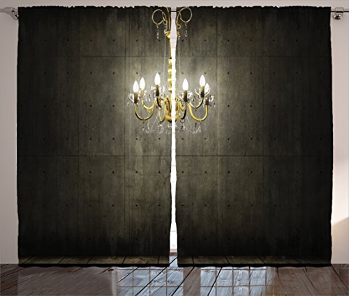 Grunge Home Decor Curtains by Ambesonne, Classic Golden Chandelier in a Dark Gothic Wooden Room Vintage Room Picture, Living Room Bedroom Decor, 2 Panel Set, 108 W X 84 L Inches, Golden Olive Green