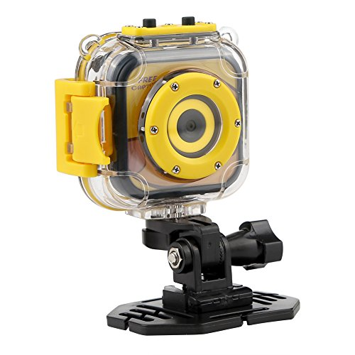 Kids Waterproof Camera, PELLOR Underwater Sport Action Cam Video Recorder (Yellow, 1.77in) (Recorder Underwater Video)