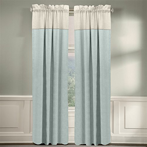 Veratex The Monterey Window Collection Made in the U.S.A. 100% Linen Living Room Rod Pocket Window Panel Curtain, Indigo, 96