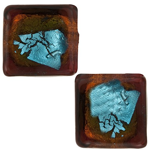 Dark Brown and Aqua Abstract Cube 10mm Silver Foil, Murano Glass Bead, 2 Pieces (Cubes Venetian Glass Beads)