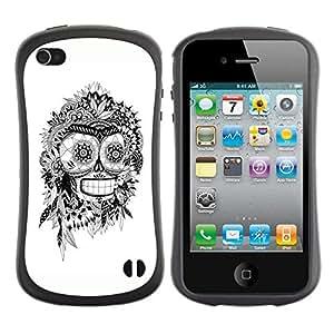 "Pulsar iFace Series Tpu silicona Carcasa Funda Case para Apple iPhone 4 / iPhone 4S , Bender Blanco Negro indio del cráneo del robot"""