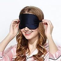 Pure Silk Sleeping Eye Mask Travel Sleep Soft Relax Calming Blindfold (Black)
