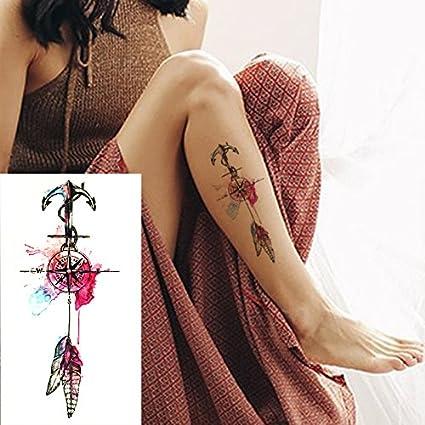Nuevo Anclaje Y Plumas Tatuajes Temporales A Prueba De Agua Sexy ...