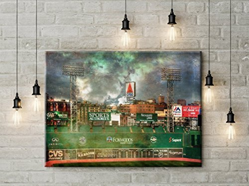 Fenway Park Artwork (Fenway Park Canvas, Boston Red Sox Art, Vintage Red Sox Decor, Red Sox Green Monster 12x18 to 24x36 Canvas Wrap)