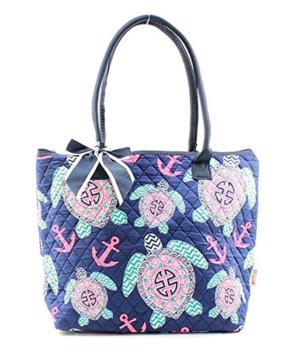NGIL Sea Turtle Anchor Print Small Tote Bag with Bow Accent (Navy Blue)