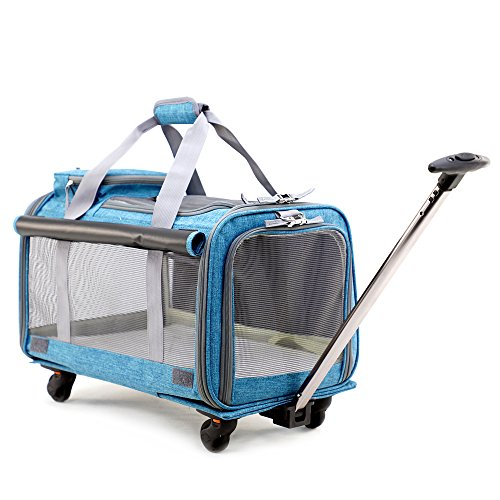 Pet Carrier Stroller,Soft-Sided Pet Travel Carrier with Removable Wheels for Small Medium Dogs/Cats up to 22 lbs – Easy to Fold,Durable Mesh Panels & Washable Fleece Mat … Review