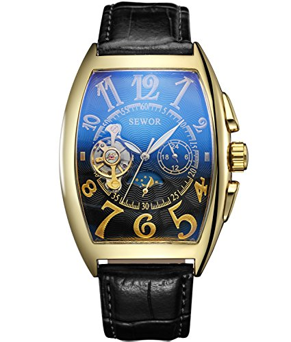 SEWOR Mens Automatic Business Dress Tonneau Moon Phase Wrist Watch Mechanical Self Wind (Gold (Tonneau Case Watch)