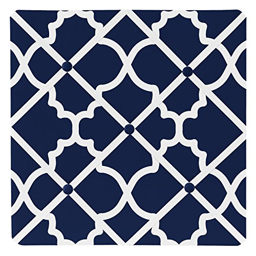Designer Fabric Bulletin Board (Navy Blue and White Modern Fabric Memory Memo Photo Bulletin Board for Trellis Lattice Collection by Sweet Jojo Designs)
