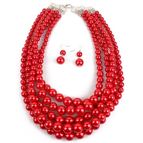 KOSMOS-LI Multi Layer Imitate Red Pearl Bead Multi Strand - Pearl Necklace 12mm