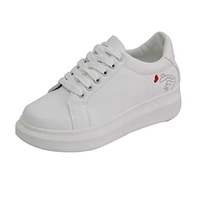 Shoes Plateforme Femme Manadlian Respirante Baskets Basses White kXPZOiu