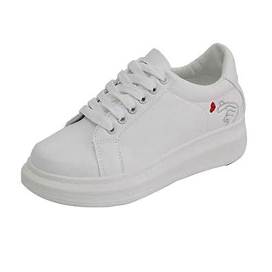 Manadlian Shoes Basses Femme Plateforme Respirante Baskets White OukPXZi