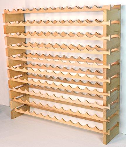 Modular Wine Rack Beechwood 48-144 Bottle Capacity 12 Bottles Across up to 12 Rows Newest Improved Model (120 Bottles - 10 Rows) by sfDisplay.com,LLC. (Image #5)