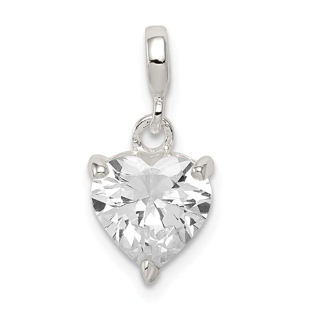 925 Sterling Silver Clear Cubic Zirconia Heart Enhancer Pendant by Saris and Things