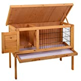 LAZYMOON 36'' Wooden Rabbit Bunny Hutch House Coop Poultry Cage Outdoor Run, Natural Color