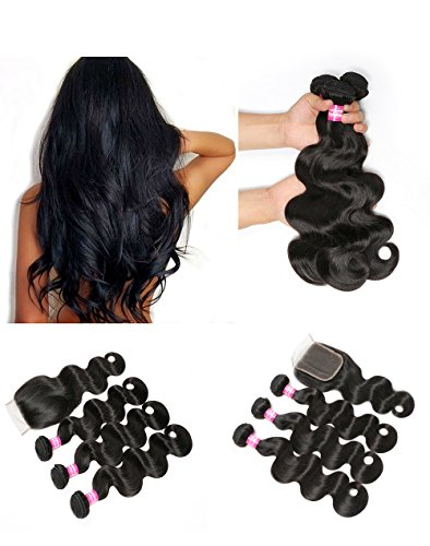 BILSTAL Brazilian Virgin Hair Body Wave Human Hair 3 Bundles with 4×4 Lace Closure 100% Unprocessed Hair Extensions Natural Color (12 14 16 with 10 Free Part) by BILSTAL