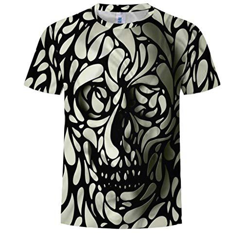 Letdown_Men tops Men T Shirt Skull 3D Printed T Shirt Plus Size S-3XL Funny Printing Mens Summer Fashion 2019 Black