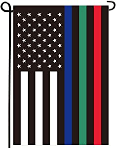 Joven Thin Red Blue Green Line American Garden Flag- Double Sised Backout Fabric Police Military and Fire Firefighter Thin Line USA Yard Flags Banner Weather Resistant 12.5x18 Inch