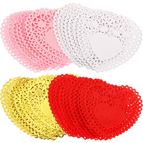 Boao 104 Pieces Valentine's Day Heart Doilies Heart Paper Doilies for Cakes DIY Crafts Wedding Party Table Supplies, 4 Inches -