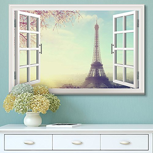 Window View Eiffel Tower in Paris with Cherry Blossom