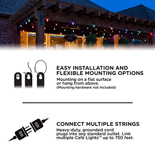 Enbrighten 37790 Vintage Seasons LED Warm White & Color Changing Café String Lights, Black, 48ft, 24 Premium Impact Resistant Lifetime Bulbs, Wireless, Weatherproof, Indoor/Outdoor, 48 ft, by Enbrighten (Image #7)