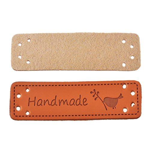 (Yalulu 20Pcs PU Leather Label Simple Handmade Embossed Tag Embellishment Knit DIY Apparel Accessories)