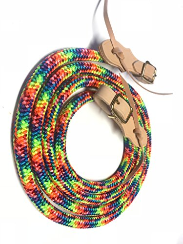Braid Leather Bridle - yacht rope rein with buckle slobber strap tie dye rainbow