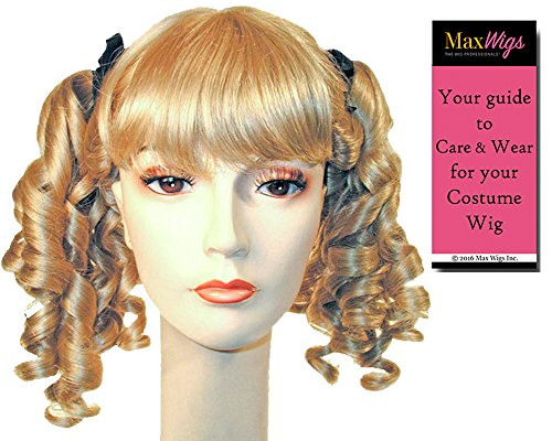 Little Women II Color Strawberry BLONDE - Lacey Wigs 19th Century Pigtails Maiden Bo Peep Long CurlsBundle with MaxWigs Costume Wig Care -