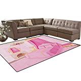Princess,Rug,Interior of Magic Princess Bedroom Old Fashioned Ornament Pillow Mirror Print,Dining Room Home Bedroom Carpet Floor Mat,Pink Yellow Size:5'x6'