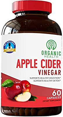 Apple Cider Vinegar Capsules for Detox Cleanse 100% Organic tonic | Natural Weight Loss | Cholesterol Support, Healthy Weight Loss | Pharmacist Approved | by Organic Health