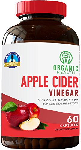 Apple Cider Vinegar Cholesterol - Organic Apple Cider Vinegar Capsules for Healthy Weight Loss & Diet | Pharmacist Approved 1250 mg | Vegan | Cholesterol Support | by Organic Health