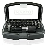 MAXKO Bit Set, 32 Pieces, including bit holder and adapter square to hexagon