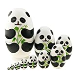 Cute Animal Theme Black and White Panda Egg Shape Wooden Handmade Nesting Dolls Matryoshka Dolls Set 10 Pieces for Kids Toy Birthday Christmas Gift Home Kids Room Decoration