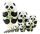 Cute Animal Theme Black and White Panda Egg Shape Wooden Handmade Nesting Dolls Matryoshka Dolls Set 10 Pieces For Kids Toy Birthday Christmas Gift Home Kids Room Decoration