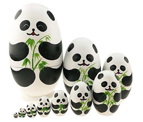 Cute Animal Theme Black and White Panda Egg Shape Wooden Handmade Nesting Dolls Matryoshka Dolls Set 10 Pieces for Kids Toy Birthday Home Kids Room Decoration