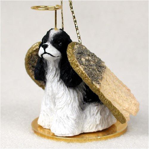 Cocker Spaniel Angel Dog Ornament - Parti Black