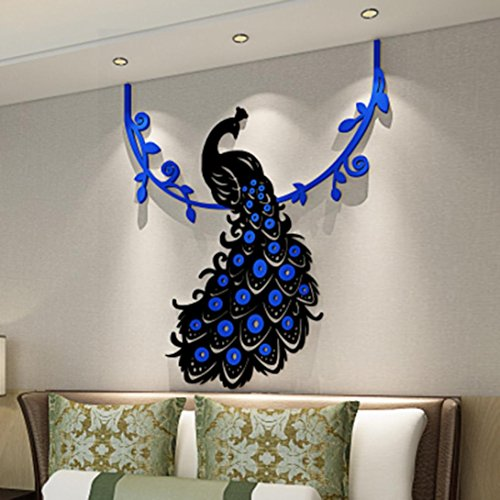 Cheap  Binmer(TM) Peacock DIY 3D Acrylic Crystal Wall Stickers Living Room Bedroom TV..