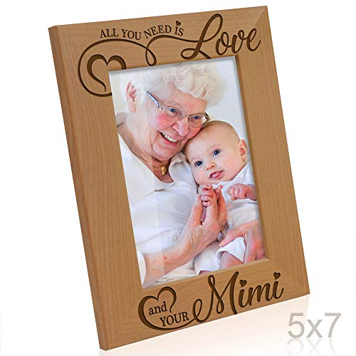Kate Posh - All You Need is Love, and your Mimi Engraved Natural Wood Picture Frame, Grandparents Day Gifts, Grandma Gifts, for Nana, (5x7-Vertical)