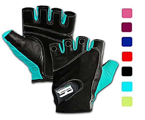Gym Gloves For Powerlifting, Weight Training ,Biking, Cycling - Premium Quality Weights Lifting Gloves - Washable, Gloves For Callus And Blister Protection Turquoise (In Door Bike Stand)