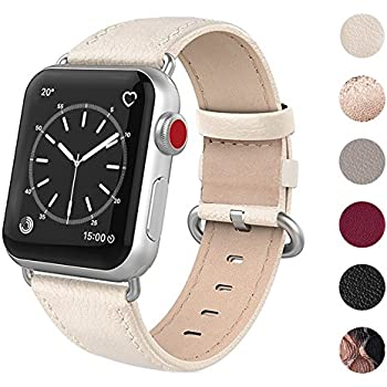 SWEES Compatible Apple Watch Band 38mm, Genuine Leather iWatch Elegant Replacement Strap Stainless Steel Buckle Compatible Apple Watch Series 3, Series 2, Series 1, Sports & Edition Women, Ivory White