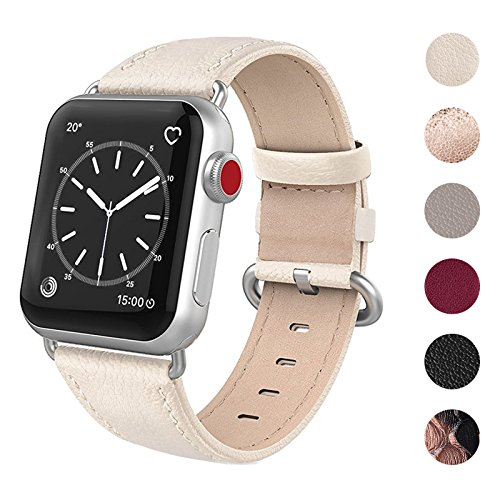 SWEES Leather Band Compatible for Apple Watch 38mm 40mm, Genuine Leather Elegant Replacement Compatible iWatch Series 4, Series 3, Series 2, Series 1, Sports & Edition Women, Ivory White