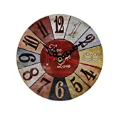 "OHTOP Wall Clock/Rustic Vintage Style/Wooden/Round Square Shape/Run Silently/Home Office Decor/4.53"" (5#)"