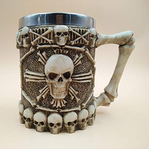 KathShop Halloween 3D Multi Skull Mug Stainless Steel Drinking Crypt Tankard Coffee Tea Bottle Mug Skull Knight Drinking Mug Gift -