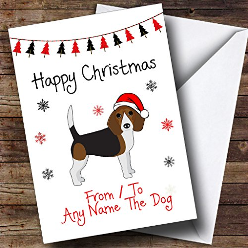 Pet Christmas Cards Personalized - Dark Beagle From Or To The Dog Pet Personalized Christmas Holiday Greetings Card