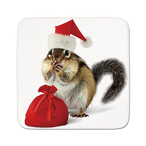 Cozy Seat Protector Pads Cushion Area Rug,Christmas,Chipmunk in Red Santa Claus Hat and Bag with Surprise Xmas Presents,Light Yellow White Red,Easy to Use on Any Surface