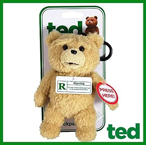 Ted Talking Backpack Clip Plush Teddy Bear R-Rated 12 Phrases In Stock