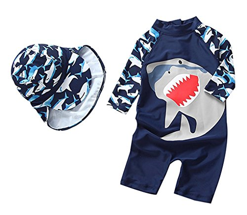 Baby Boy Cartoon Shark One-Piece Rash Guard Long Sleeve Swimsuit Swimwear(Navy, 3-4T(Height:39.4