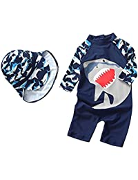 d5c8cecdb7 Baby Boys Kids Swimsuit One Piece Toddlers Zipper Bathing Suit Swimwear  with Hat Rash Guard Surfing
